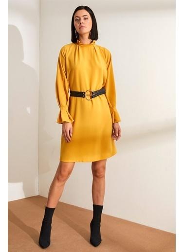 Setre  Dik Yaka Uzun Kol Diz Üstü Elbise Hardal
